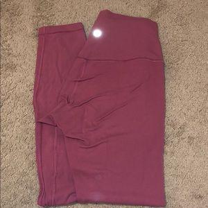 "Pink lulu lemon size 4 leggings 25"""